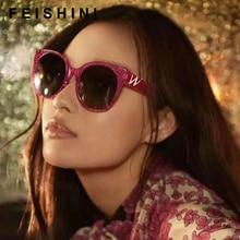 ФОТО feishini stars shine plastic frame festival red cateye sunglasses ladies hd mirror 2018 fashion gg women glasses uv protector