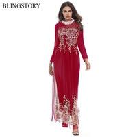 BLINGSTORY Fashion Muslim Flower Printing Middle East Lace Dresses High Quality Gauze Long Abaya Indonesia Kaftan Dress KKD1206