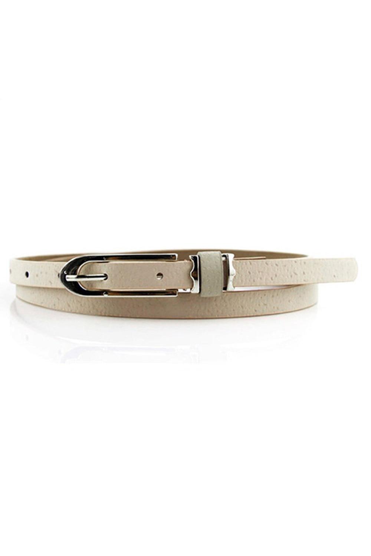 2017 NEW Fashion Lady Women Waistband Pu Leather Belt (Beige)