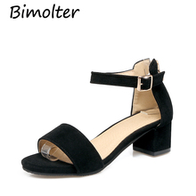 Bimolter 2019 Summer Ankle Strap Med Heel Gladiator Sandals Open Toe Cover Chunky Ladies Shoes Super Big Size 30-50 PSEB005