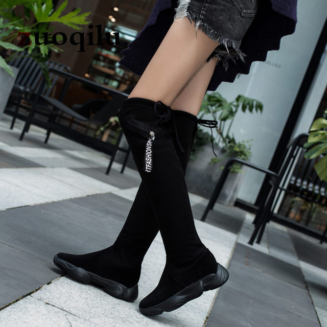125c3d3c465e Women Sock Boots 2018 Stretch Fabric Over the Knee Boots Women black thigh  high Boots For Women