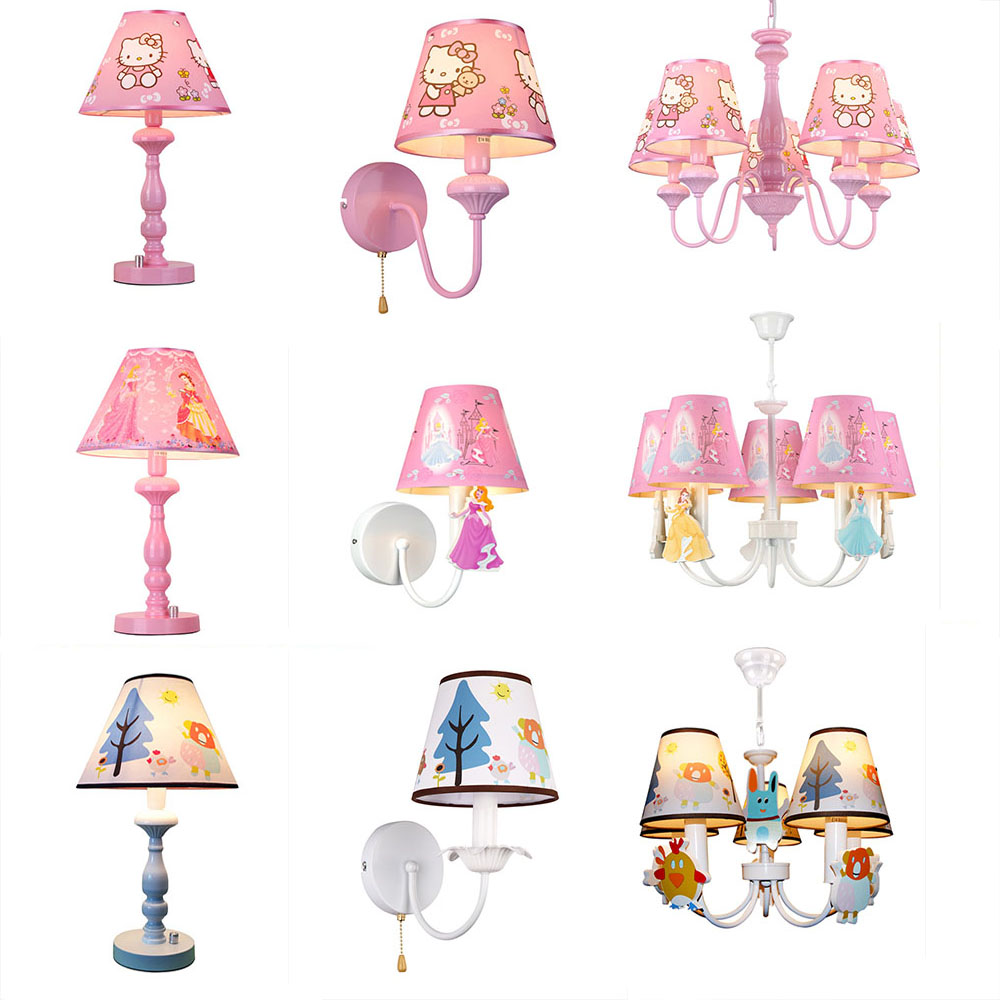 HGhomeart Kids Room Reading Bed Light Luminaria Switch Button Table Lamp LEDE27 Bedside Lamp Cartoon Boy Girl Led Desk Lamp 220v