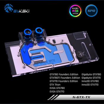 Bykski N-GTX-TX, Full Cover Graphics Card Water Cooling Block RGB/RBW For All Series Founders Edition GTX780/770