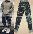 2017 Best Version fog FEAR OF GOD side zipper camouflage pants Hiphop Fashion army green joggers sweatpants justin bieber S-XL
