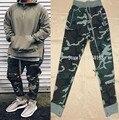 2017 Melhor Versão nevoeiro TEMOR DE DEUS zíper lateral calças de camuflagem Hiphop corredores moletom justin bieber Moda exército verde S-XL