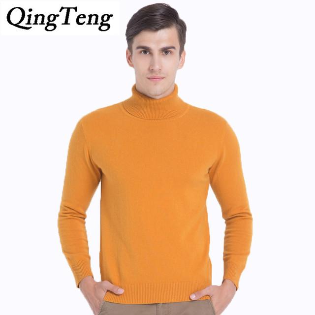 QingTeng Lã Merino Camisola de Gola Alta Homens Inverno Lã Quente Camisola Masculino 100 suéter de Cashmere Puro Camisola Homens Pullovers