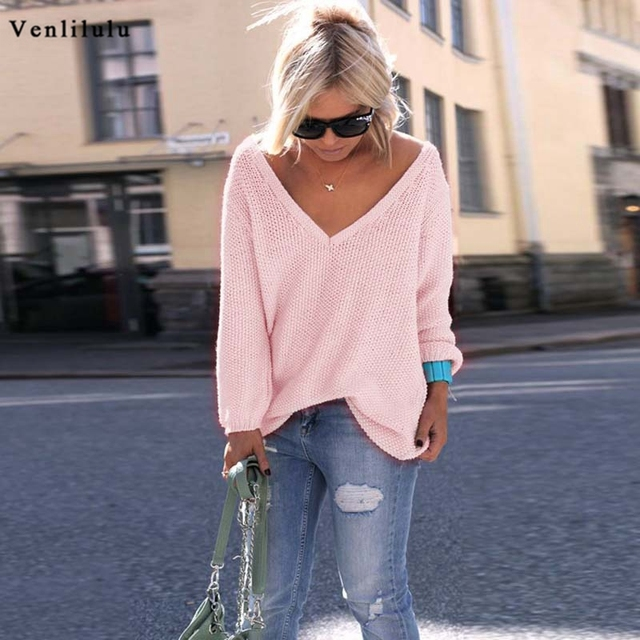 Sexy Knitted Long Sleeve V Neck Pullover Sweater 3