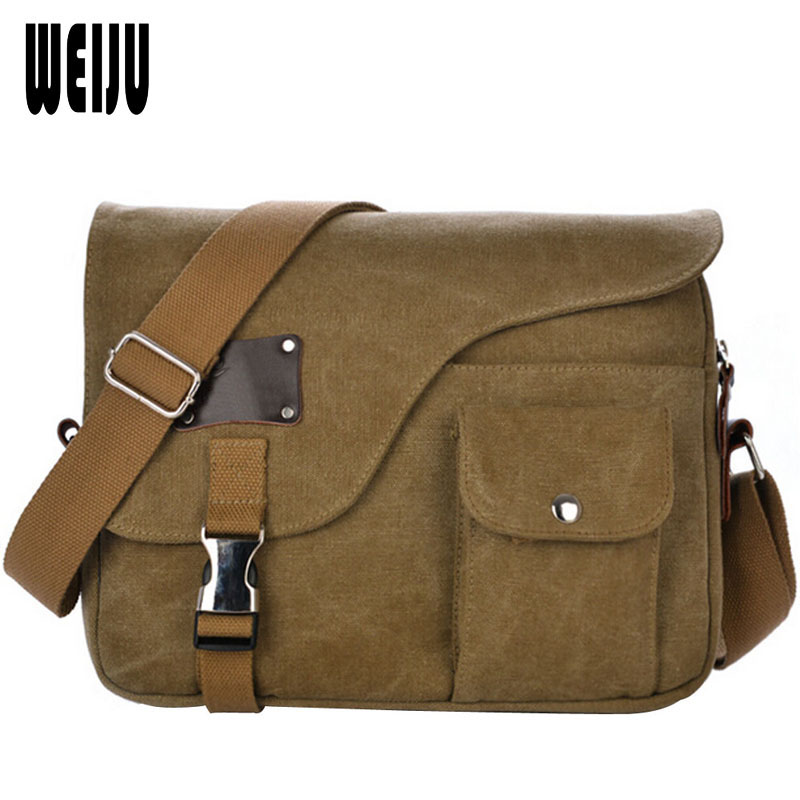 WEIJU New 2017 Men Messenger Bags Fashion Vintage Casual Canvas Shoulder Bag Multifunction High Quality Men Bags YA0490 casual canvas women men satchel shoulder bags high quality crossbody messenger bags men military travel bag business leisure bag