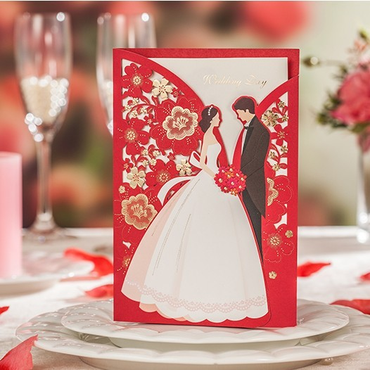 Set Of 10 Country Garden Flower Seed Wedding Favours With: 2016 Red Bride & Groom Wedding Party Invitation Cards