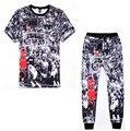 Mais recente Moda Mens/Womens T Shirts + sweatpants Corredores Calças Impresso 3D Jordan NO. 23 Ocasional terno do Lazer 2 peça define
