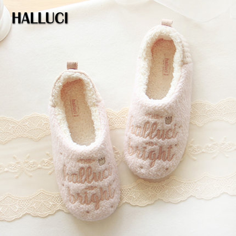 HALLUCI Winter Pink embroidered fleece zapatillas house women shoes flats Sweet princess velvet polar indoor floor shoes women vintage embroidery women flats chinese floral canvas embroidered shoes national old beijing cloth single dance soft flats
