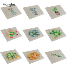 Novelty Succulents Cactus Pattern Linen Dining Table Mat Insulation Placemats Pads Bowl Mats Coasters Kitchen Accessories