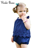 Wonder Beans Cute Baby Romper Newborn Baby Girls Lace Jumpsuit Birthday Outfit Summer Onesie Infant Clothing