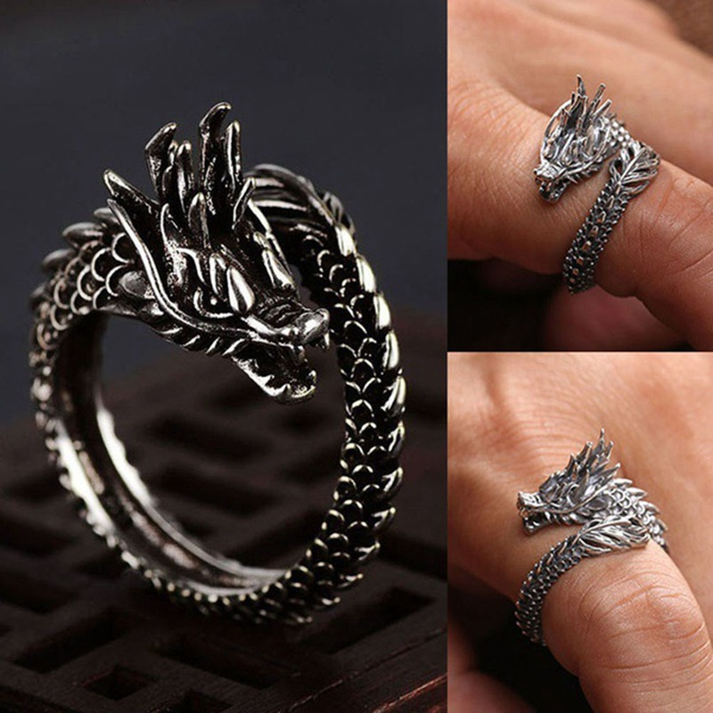 New Design Retro Adjustable Silver Dragon Ring For Men Women Personality Fashion Finger Opening Rings