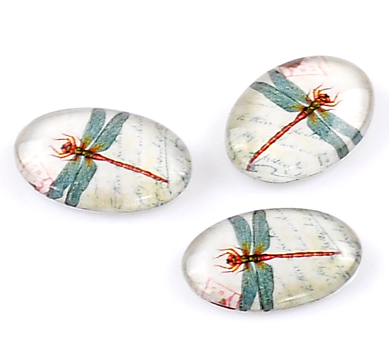 Glass Dome Seals Cabochons Embellishments Findings Oval Flatback Multicolor Dragonfly Pattern 18mm X 13mm ,2 PCs