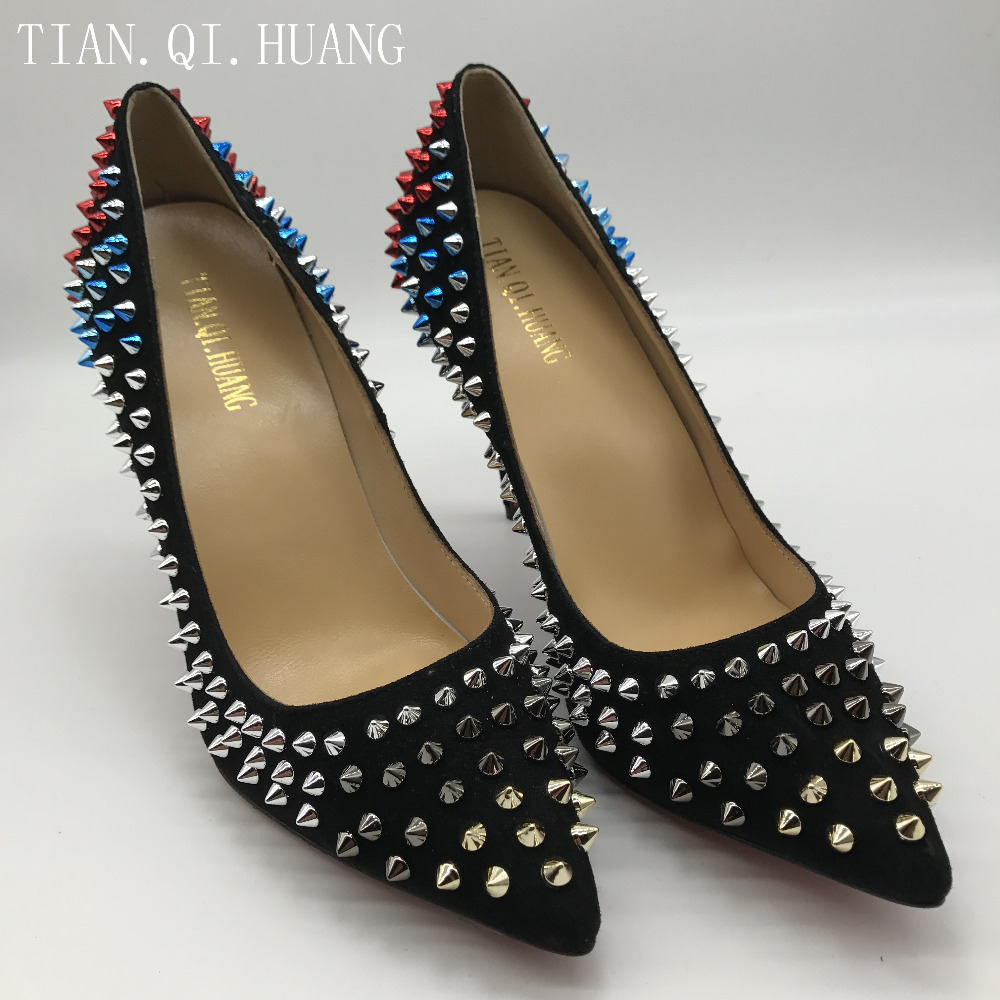 2017 Fashion Rivet Design Pumps Women Genuine leather High Heels Shoes, New Styles Woman Shoes Brand TIAN.QI.HUANG 2