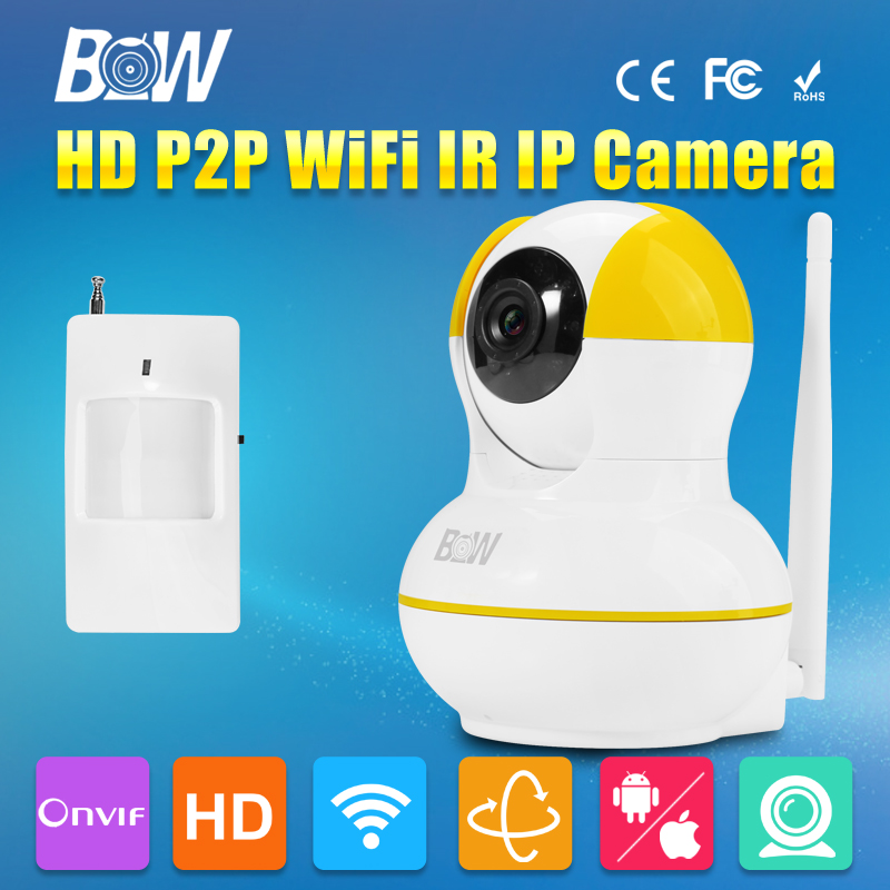 ФОТО BW Two Way Audio IP Wireless Wifi Dome Camera + Motion Sensor P/T CCTV 720P HD Onvif Indoor Baby Monitor P2P Support iOS Android