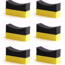 6Pcs ยาง Contour Dressing Applicator Pads Gloss Shine สีฟองน้ำขัดขี้ผึ้ง