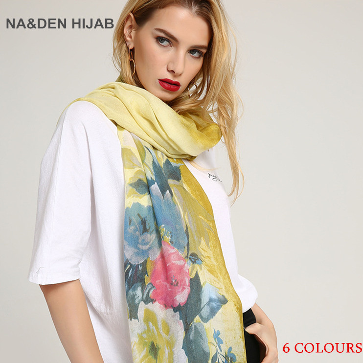 2018 Sell hot style quickly Fashionable new sheep viscose printing a corner of a large flower cotton and hemp Tourism shawl10pcs