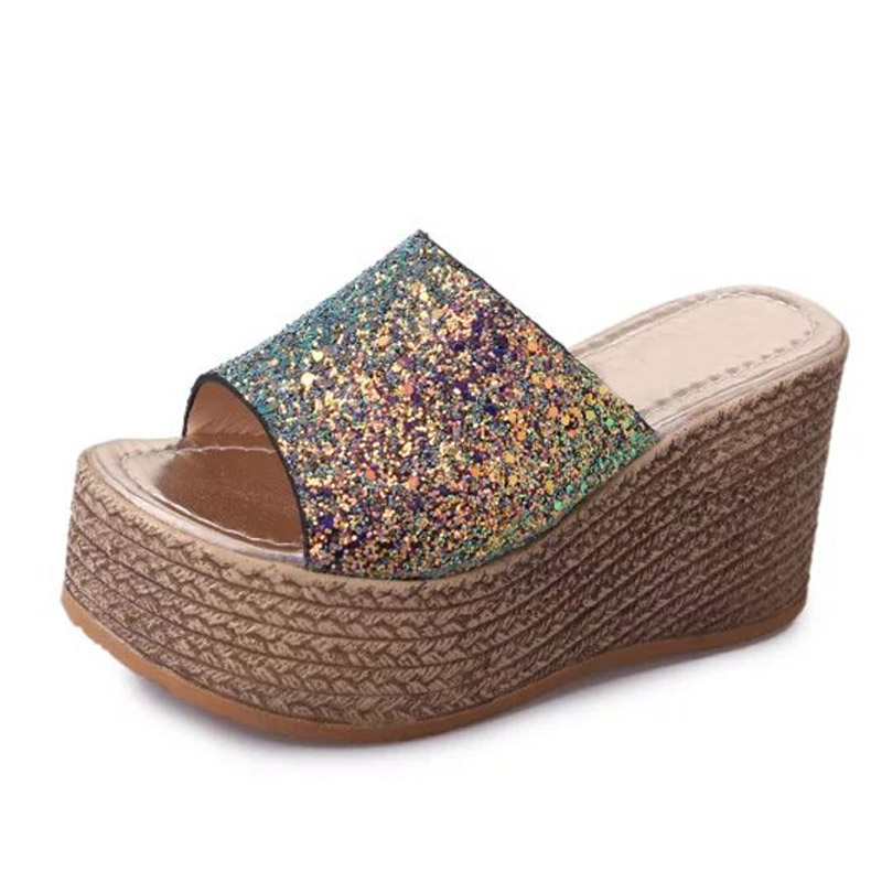 LANSHULAN Bling Glitters Slippers 2017 Summer Flip Flops Shoes Woman Creepers Platform Slip On Flats Casual Wedges Gold lanshulan wedges gladiator sandals 2017 summer peep toe platform slippers casual glitters shoes woman slip on flats creepers