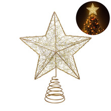 NICEXMAS Christmas Tree LED Star Tree Topper Battery Operated Treetop Decoration (Gold) A20(China)