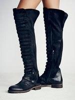 Женские ковбойские сапоги в ковбойском стиле в западном стиле, Черные Сапоги выше колена на низком каблуке, армейские сапоги в стиле панк, б
