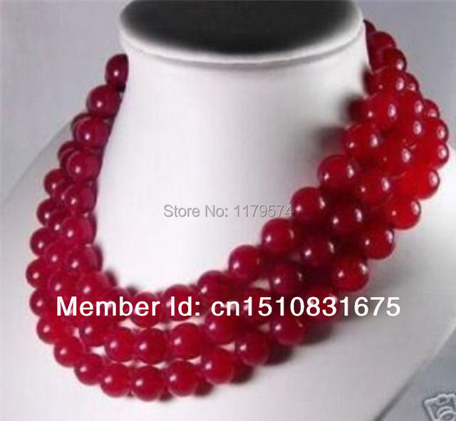 "Noble beauty free shipping wholesale and retail  new noble all-match woman 10mm Red Jade Jasper long Necklace 50"" xu16"