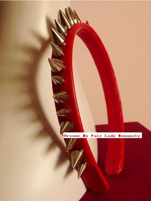 Custom Made Lady Gaga Cool Rock Style Rivet Red Leather Hairband T Stage Hottest Headband HD-013