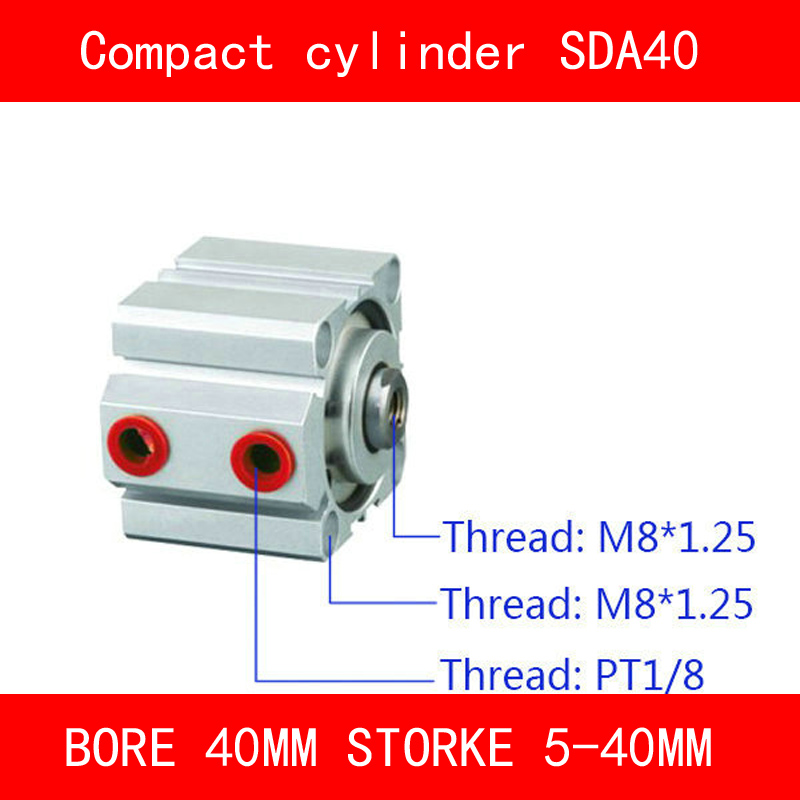 CE ISO SDA40 Cylinder Magnet Compact SDA Series Bore 40mm Stroke 5-40mm Compact Air Cylinders Dual Action Air Pneumatic bore size 80mm 10mm stroke double action with magnet sda series pneumatic cylinder