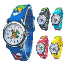 Cartoon aircraft Lovely Kids Watches For Girls Boys Gift Clock Childre