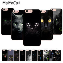 MaiYaCa Olhando Olho Do Gato Preto Na Venda! Luxo Caso de telefone Legal para iPhone 11 pro 8 7 6 6S Plus X 5 5S SE XR XS XS MAX Tampa traseira(China)
