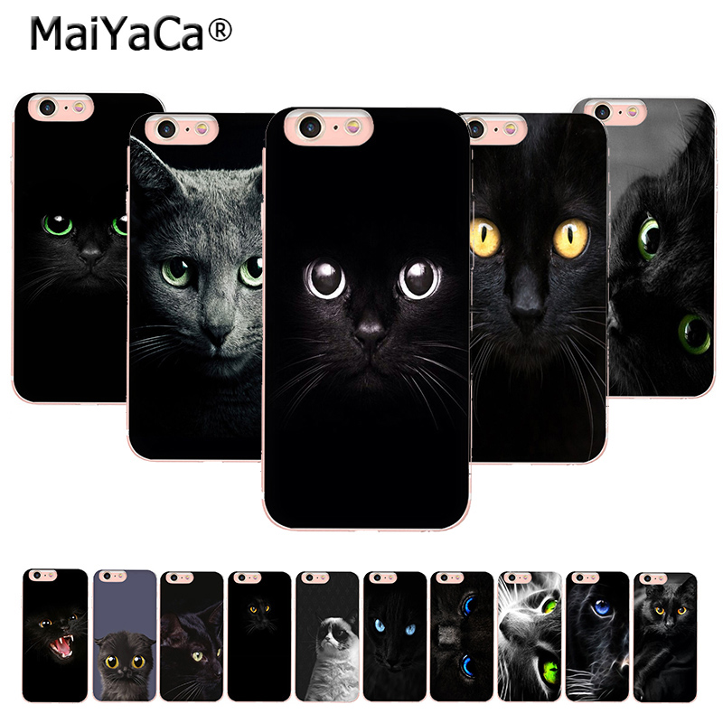 MaiYaCa Black <font><b>Cat</b></font> Staring Eye On Sale! Luxury Cool phone <font><b>Case</b></font> for <font><b>iPhone</b></font> 11 pro 8 7 6 6S Plus X <font><b>5</b></font> 5S SE XR XS XS MAX back Cover image