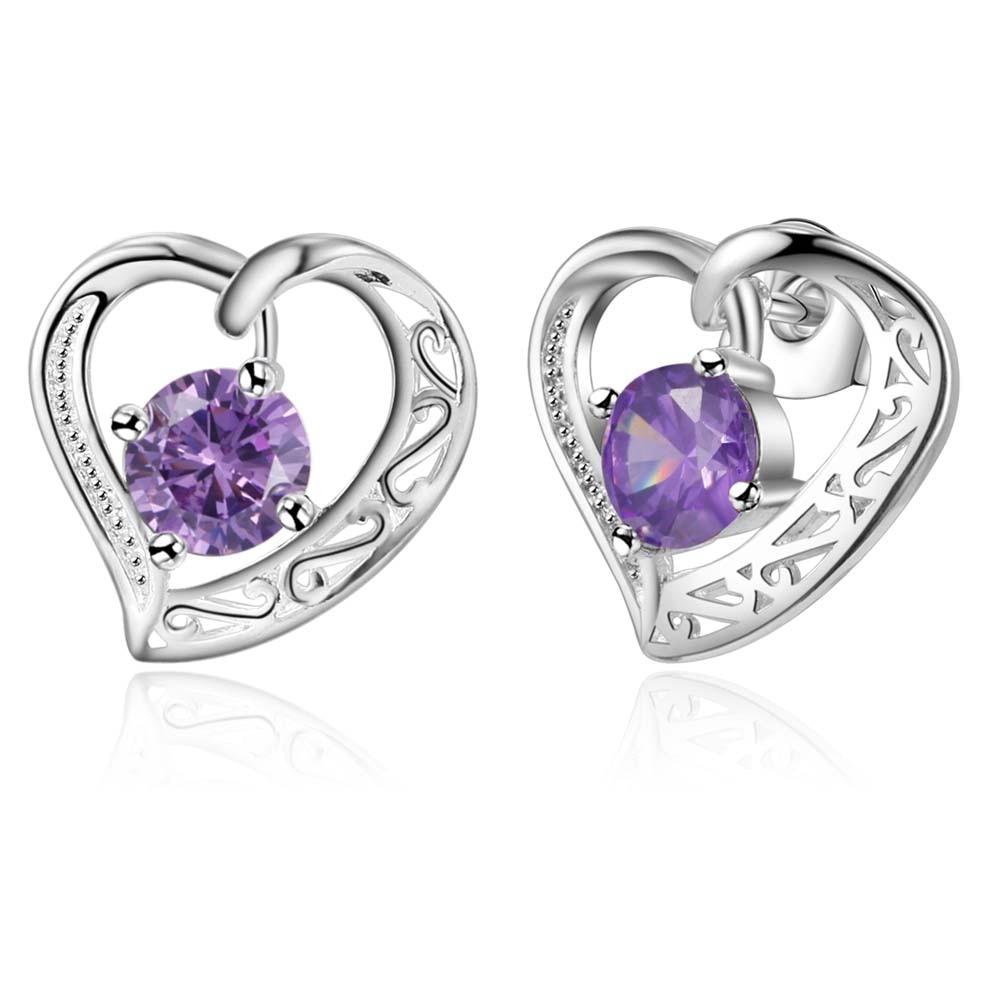 4dfca54193e «Любящее сердце» фиолетовый камень гвоздики наивысшего качества Бесплатная  доставка с серебряным покрытием Серьги для Женская мода ювели.