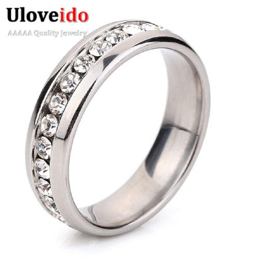 a608ae4d50bc Moda stanless acero bague para las mujeres vintage bijouterie cristalino  strass anillo joyería cubic zirconia anillos uloveido YL006