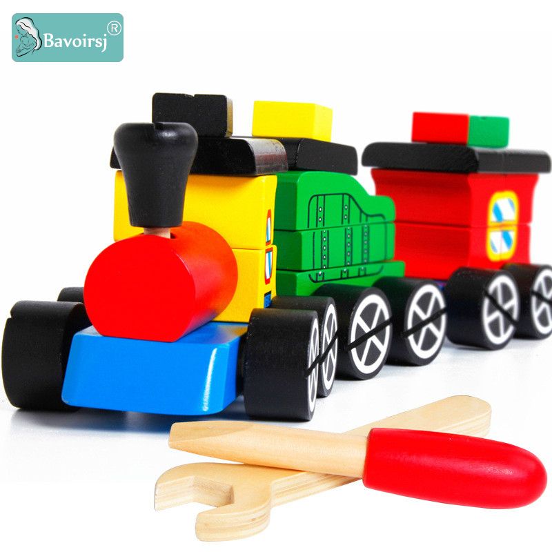 Bavoirsj Wooden Toys Baby Colorful Screw Nut Wood Train Montessori Toy for Kids Boys Educational Waldorf Baby Toys BJ015