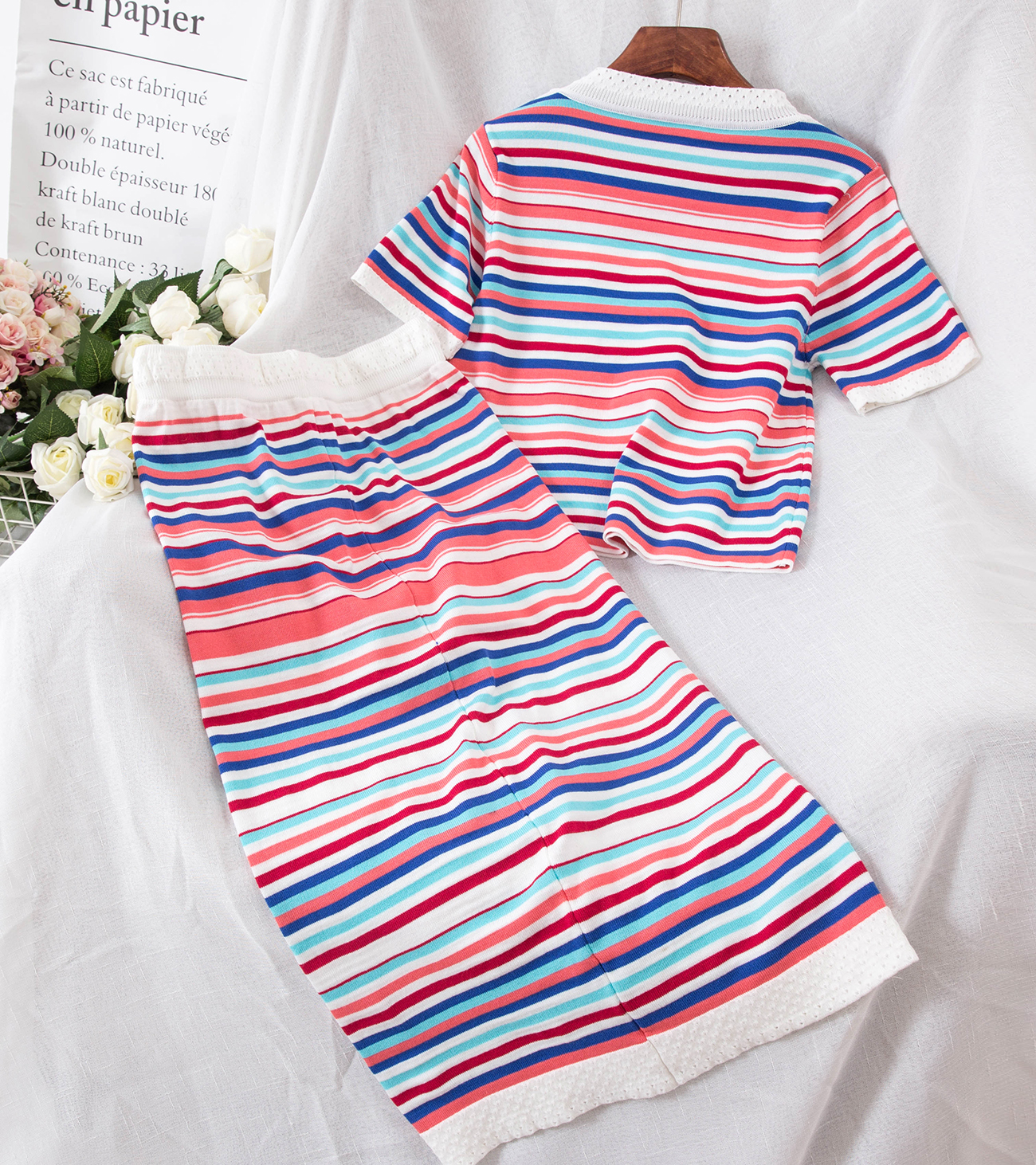 2018 Summer Knitted Two Piece Sets Woman Suits Lady Suit Office Wear Clothes New Short Sleeve Tops And Slim Skirts 2 Pcs Set 1