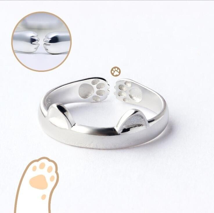 Shuangshuo כסף מצופה אופנה פשוט תכשיטי יפה מזל חתול טבעת חמוד בעלי החיים טבעות לנשים מפלגה מתנות