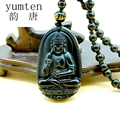 Natural Obsidian Choker Long Necklace Pendant Guardian Buddha Jewelry Bags Beads Fashion 2017 Lucky Chain Gift Collier Sautoir