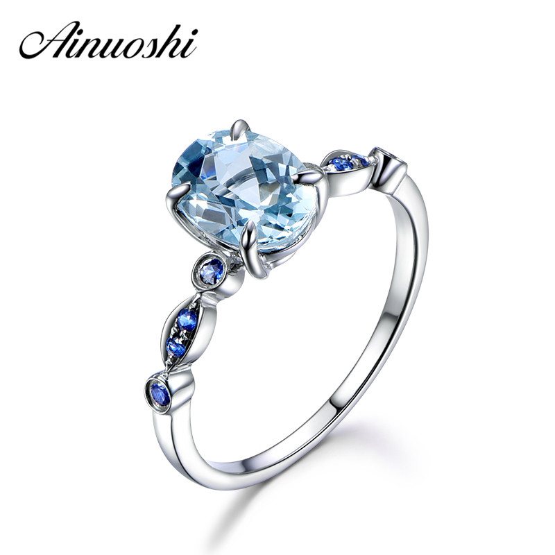 AINUOSHI 3 Carat Oval Natural Sky Blue Topaz Ring Solid 925 Sterling Silver Rings For Women Charms Fashion Wedding Jewelry Gift wedding rings 925 sterling silver rings for men blue topaz ring fashion gift jewelry 100% 925 sterling silver ring j091101agb