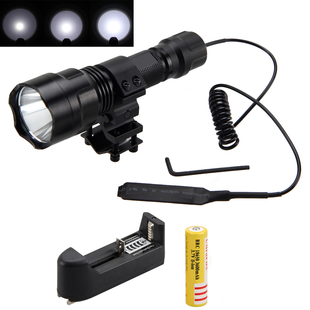 Tactical 2500lm XML T6 LED Flashlight Hunting Light Torch+ Mount +Pressure Switch+Battery+Charger 3800 lumens cree xm l t6 5 modes led tactical flashlight torch waterproof lamp torch hunting flash light lantern for camping z93