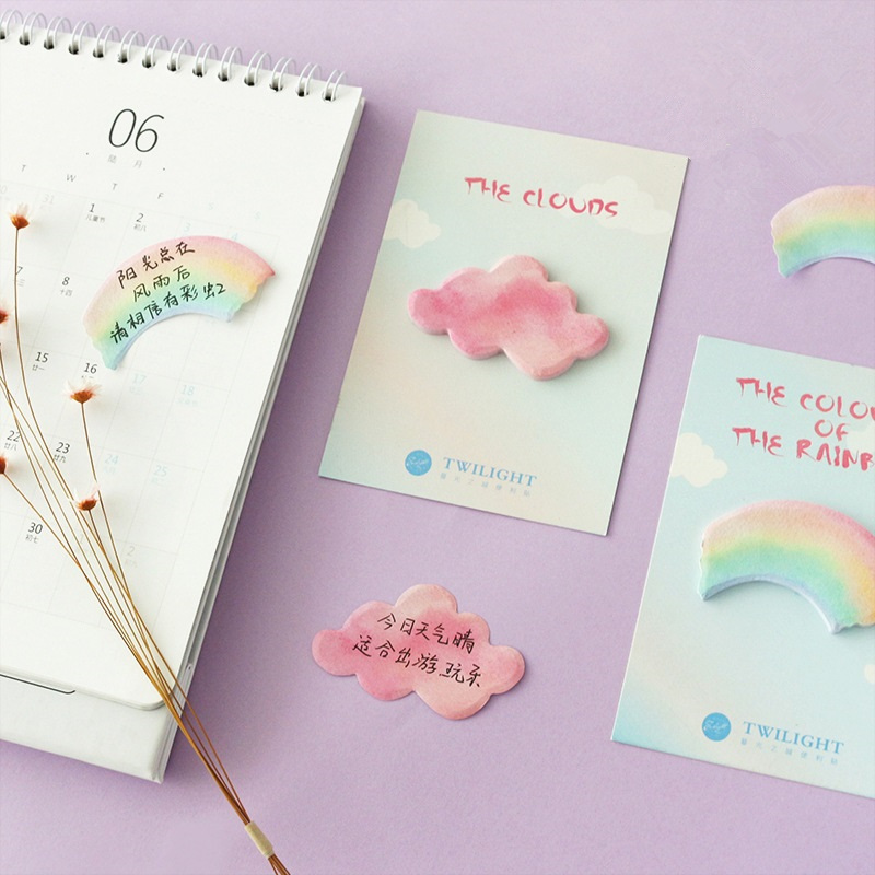 4 pcs/Lot The colours of Rainbow and clouds sticky note Post color stickers journal Office accessories School supplies F692