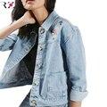 RZIV Джинсовая куртка и 2016 женщин осень куртка цветок вышитые джинсовая куртка