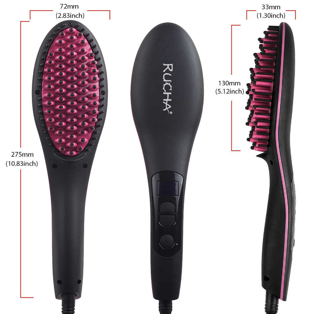 RUCHA Ceramic Electric Hair Brush Hair Straightener Straightening Flat Iron  Comb Digital Control Heating Brushes High Quality