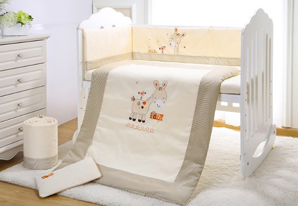 Promotion! 7PCS embroidery Baby Bedding Bumper Cartoon Rabbit Newborn Cotton Crib Bedding ,include(2bumper+duvet+sheet+pillow)