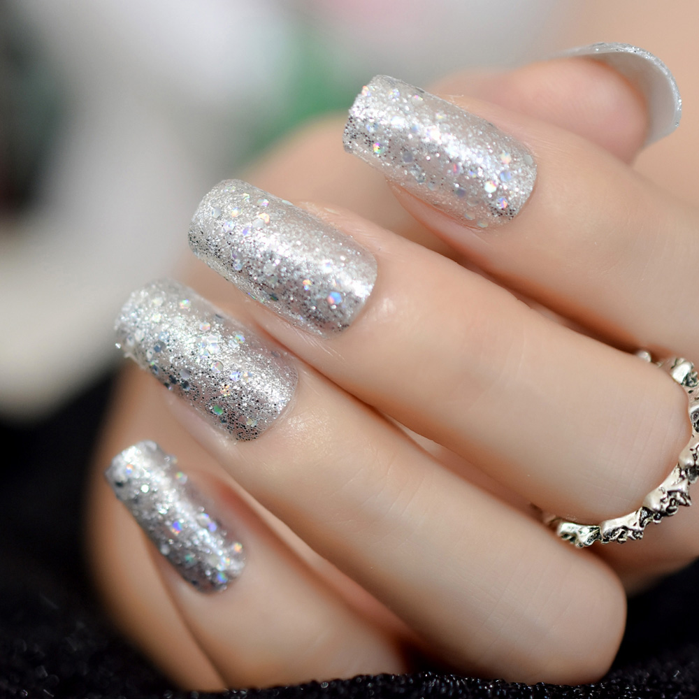 Us 198 10 Offtransparent Acrylic Artificial Nails Silver Glitter Pre Designed Finger Fake Nails With Adhesive Tapes 24 In False Nails From Beauty