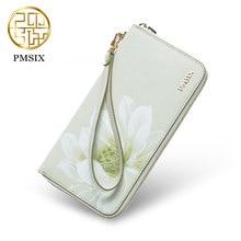 Pmsix 2017 fashion Clutch wallets Split leather cowskin fashion women big-capacity light green P420001