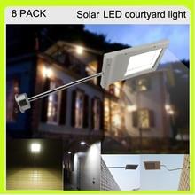 Manufacturer 8 PACK 3W solar 15 LED flood light led luminaries led wall light waterproof 3000Mah Li-ion 5 hours working