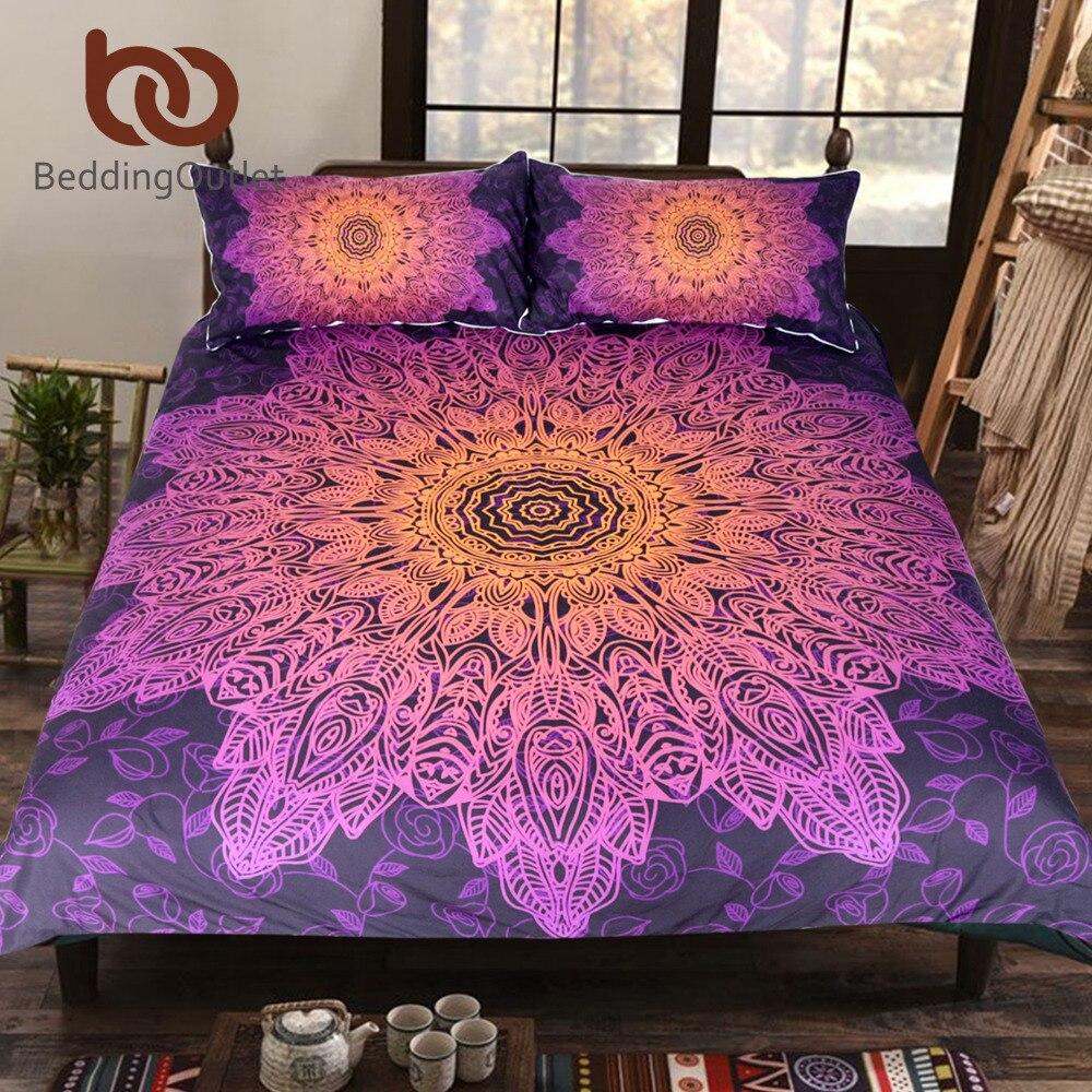 BeddingOutlet Bohème Fleur Literie Ensemble Gradient Pourpre Mandala Housse de Couette Set King Size Textiles de Maison Drop Ship