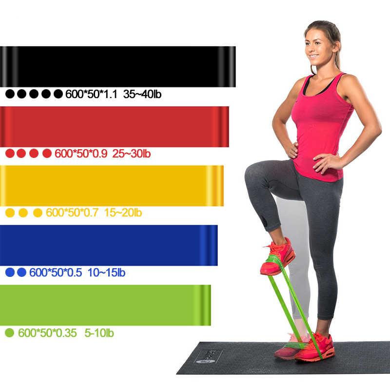 5 poziomów odporność zespoły do treningu Fitness joga Sport treningu pętle lateksowe opaski gumowe na świeżym powietrzu sprzęt 0.35-1.1mm