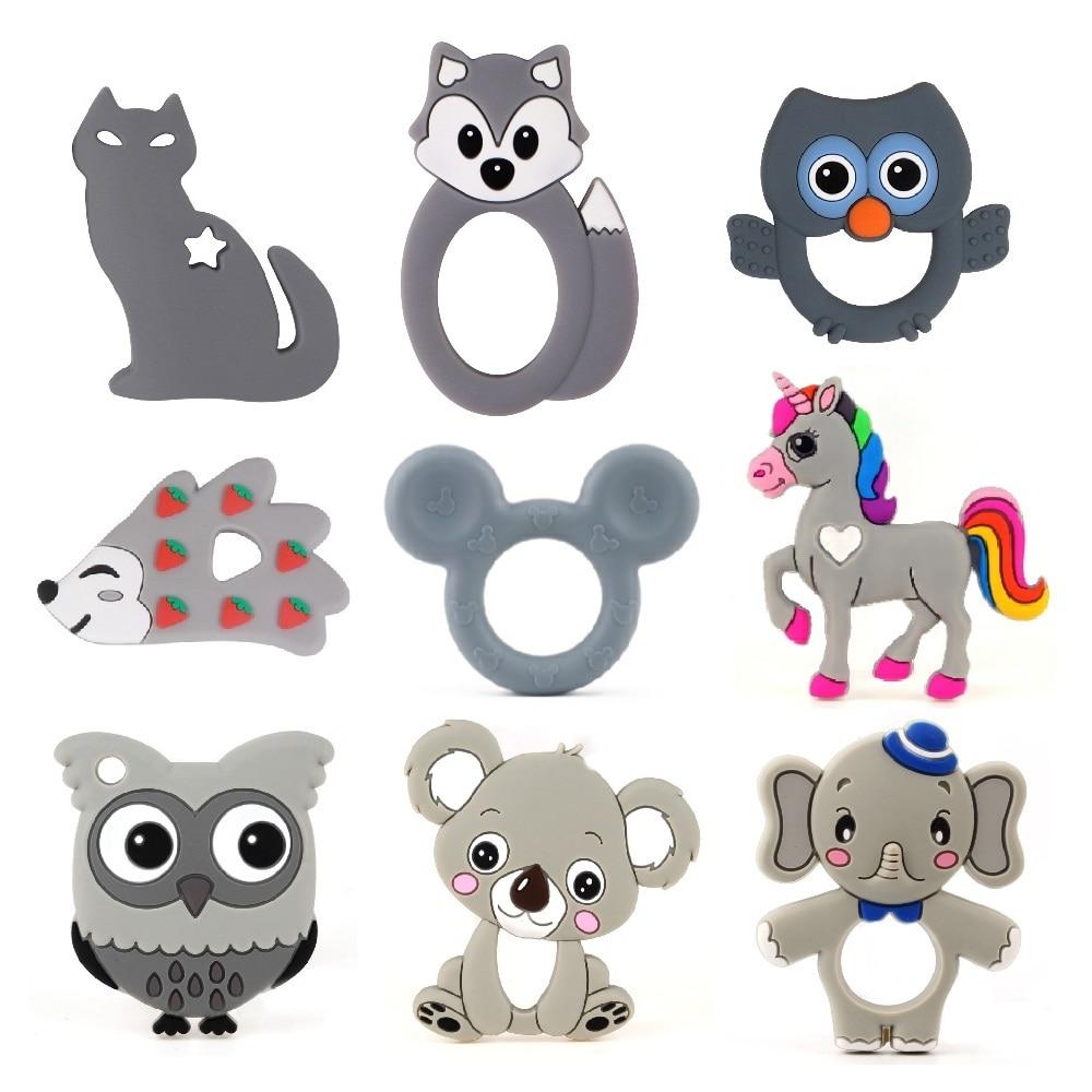 TYRY.HU 1PC Silicone Teethers BPA Free Food Grade Cartoon Animals Teether DIY Baby Teething Chew Necklace Silicone Bead Toy Gift